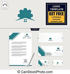 gear home logo template and stationery design include