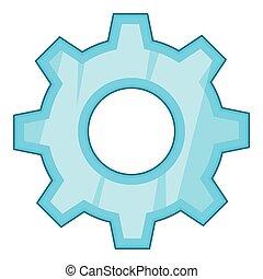 Gear icon, cartoon style