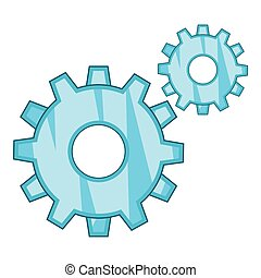 Gear icon, cartoon style
