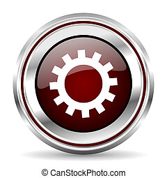 gear icon chrome border round web button silver metallic pushbutton