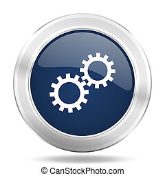 gear icon, dark blue round metallic internet button, web and mobile app illustration