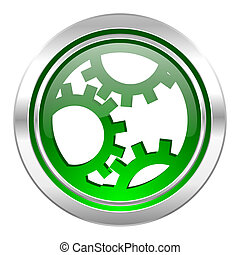 gear icon, green button, settings sign