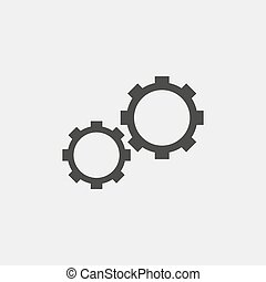 Gear icon in black color. Vector illustration eps10