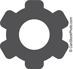 Gear icon in black on a white background. Vector illustration