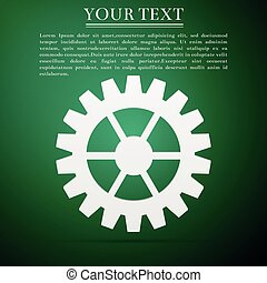 Gear icon isolated on green background. Flat design. Vector Illustration