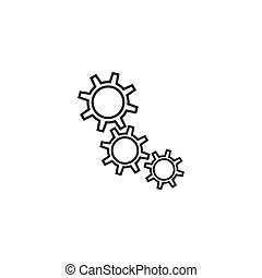 Gear Icon Isolated on White Background.