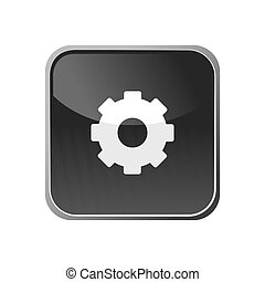 Gear icon on a square button