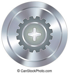 Gear icon on industrial button