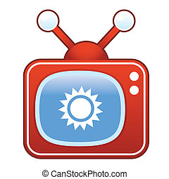 Gear icon on retro television