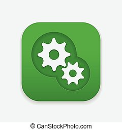 Gear Icon on square button, gear mechanism icon.