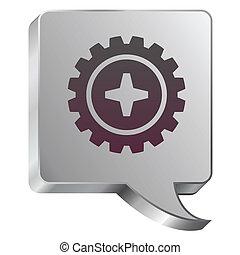 Gear icon on steel bubble