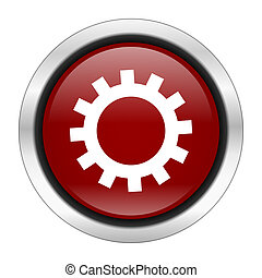 gear icon, red round button isolated on white background, web design illustration