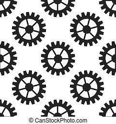 Gear icon seamless pattern on white background. Flat design. Vector Illustration