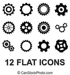 gear icon set, black isolated on white background