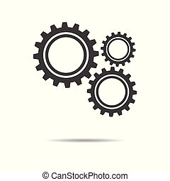 Gear icon - simple flat design isolated on white background, vector