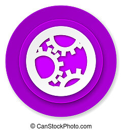 gear icon, violet button, settings sign