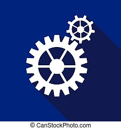 Gear icon with long shadow.