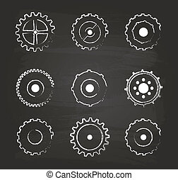 Gear Icons Set On Blackboard