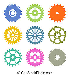 Gear Icons Set in Flat Design colors. Vector