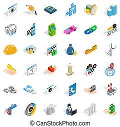 Gear icons set, isometric style