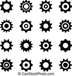 Gear icons. Vector icons set