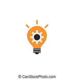 gear in bulb solution idea icon flat style