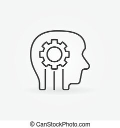 Gear in head creative icon or symbol
