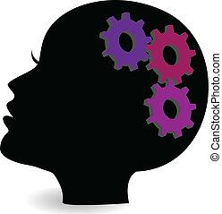 Gear in woman head vector logo