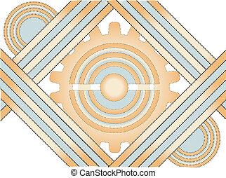 Gear Line Gold Blue Dot Abstract Ba