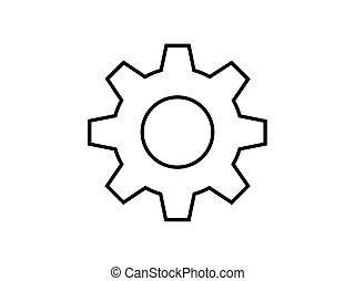 Gear line illustration vector isolated on white background