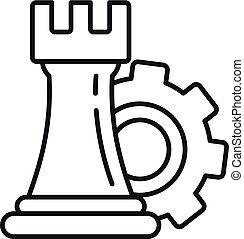 Gear logic icon, outline style