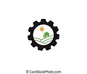 gear logo green Tree leaf ecology nature element