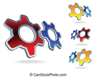 gear logo set - set of three colorful gears icons