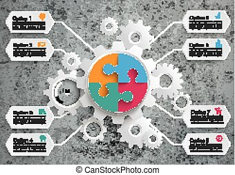 Gear Machine 8 Options Circle Puzzle Concrete