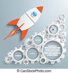 Gear Machine Growth Rocket - Infographic design white gears...