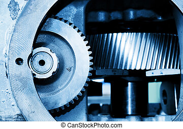 Gear machine industrial elements close-up. Industry