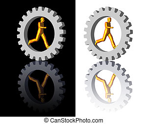 gear-man logo on white and black backgrounds - 3d...
