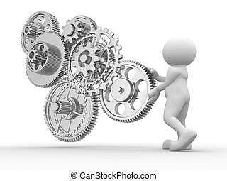 Gear mechanism - 3d people - human character and gear...