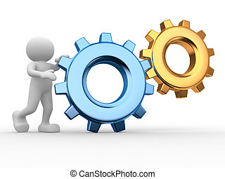 Gear mechanism - 3d people - human character, person and a...