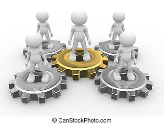 Gear mechanism - 3d people - man, person and gear mechanism....