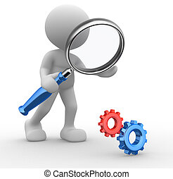 3d people - man, person with a magnifying glass and gear mechanism.