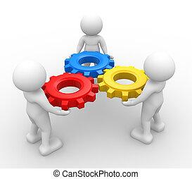 Gear mechanism - 3d people - man, person with gear mechanism...