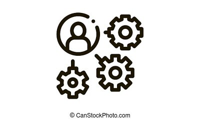 Gear Mechanism And Man Silhouette Agile animated black icon on white background