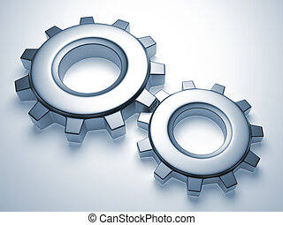 Gear mechanism - Close up of two gear mechanism - 3d render ...