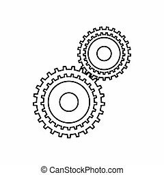 Gear mechanism icon, outline style