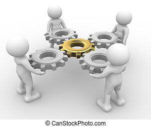 Gear mechanism - 3d people - man, person with gear...