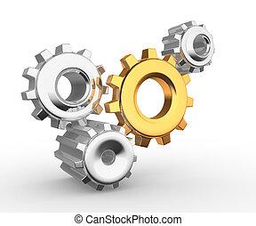 Gear mechanism - this is a 3d render illustation