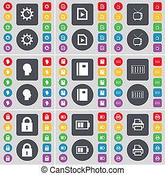 Gear, Media file, Retro TV, Sillhouette, Notebook, Equalizer, Lock, Battery, Printer icon symbol. A large set of flat, colored buttons for your design.
