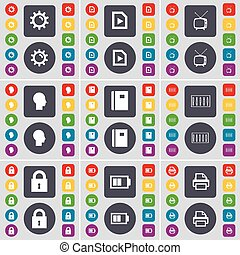 Gear, Media file, Retro TV, Sillhouette, Notebook, Equalizer, Lock, Battery, Printer icon symbol. A large set of flat, colored buttons for your design. Vector