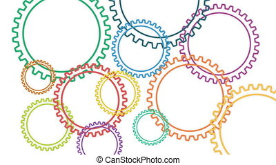 Gear multi colors rotating on the white background. Loop. 3D illustration